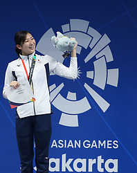 JAKARTA, Aug. 24, 2018  Gold medalist Ikee Rikako of Japan attends the awarding ceremony of women's 50m freestyle final of swimming at the 18th Asian Games in Jakarta, Indonesia, Aug. 24, 2018. (Credit Image: © Fei Maohua/Xinhua via ZUMA Wire)