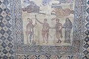 Gladiator mosaic,, Museo Nacional de Arte Romano, national museum of Roman art, Merida, Extremadura, Spain
