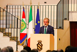 June 13, 2017 - Pavia, Italy - The President of the Lombardy Region, Roberto Maroni during his speech at the Collegio Ghislieri (Credit Image: © Luca Marenda/Pacific Press via ZUMA Wire)