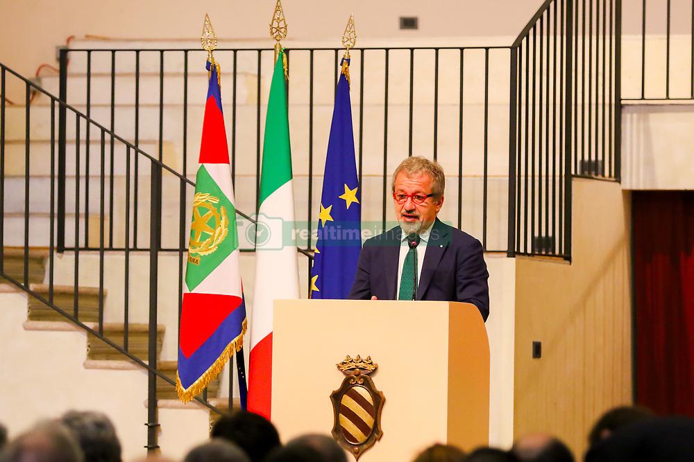 June 13, 2017 - Pavia, Italy - The President of the Lombardy Region, Roberto Maroni during his speech at the Collegio Ghislieri (Credit Image: © Luca Marenda/Pacific Press via ZUMA Wire)