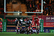 Francois Trinh-Duc of RC Toulon (20) misses by inches with a last gasp drop goal attempt leaving the Scarlets winning the match.  EPCR European Champions cup match, Scarlets v RC Toulon at the Parc y Scarlets in Llanelli, West Wales on Saturday 20th January 2018. <br /> pic by  Andrew Orchard, Andrew Orchard sports photography.
