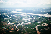 A system of rivers cutting through the Mekong Delta region of southern Vietnam.