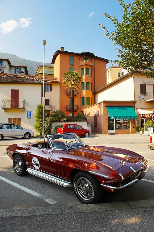 Corvette car parked outside lake side bars.Locarno, Ticino Switzerland