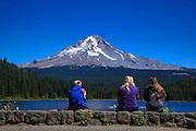 USA, Oregon, Trillium Lake, tourist sitting on the dam.