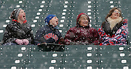 MORNING JOURNAL/DAVID RICHARD.Snow delayed the home opener of the Cleveland Indians/Seattle Mariners contest at Jacobs Field, April 6, 2007