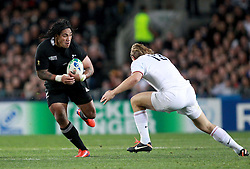 © Andrew Fosker / Seconds Left Images 2011 - New Zealand's Ma'a Nonu tries to get past France's Aurelien Rougerie  France v New Zealand - Rugby World Cup 2011 - Final - Eden Park - Auckland - New Zealand - 23/10/2011 -  All rights reserved..