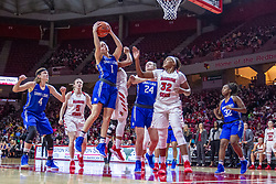 NORMAL, IL - December 20: Chloe Rice grabs the rebound during a college women's basketball game between the ISU Redbirds and the St. Louis Billikens on December 20 2018 at Redbird Arena in Normal, IL. (Photo by Alan Look)