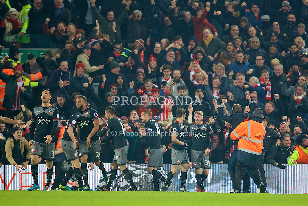 LIVERPOOL, ENGLAND - Wednesday, January 25, 2017: Southampton's Shane Long celebrates scoring the winning goal in injury time to seal a 1-0 victory over Liverpool, 2-0 on aggregate, during the Football League Cup Semi-Final 2nd Leg match at Anfield. (Pic by David Rawcliffe/Propaganda)
