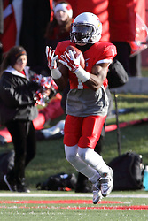 08 November 2014: Tevin Allen catches a kickoff on the 1 yard line during an NCAA Missouri Valley Football Conference game between the Youngstown State Penguins and the Illinois State Redbirds at Hancock Stadium in Normal Illinois