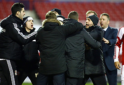Tempers flare between the two dugouts - Photo mandatory by-line: Joe Dent/JMP - Tel: Mobile: 07966 386802 11/01/2014 - SPORT - FOOTBALL - County Ground - Swindon - Swindon Town v Peterborough United - Sky Bet League One