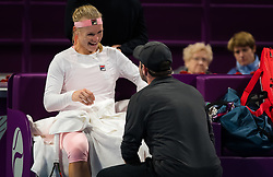 February 12, 2019 - Doha, QATAR - Kiki Bertens of the Netherlands and coach Raemon Sluiter during a changeover in the first round at the 2019 Qatar Total Open WTA Premier tennis tournament (Credit Image: © AFP7 via ZUMA Wire)
