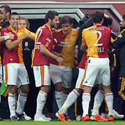 Galatasaray's Colin Kazim RICHARDS (3ndR) celebrate his goal with team mate during their Turkish superleague soccer derby match Galatasaray between Fenerbahce at the Turk Telekom Arena in Istanbul Turkey on Friday, 18 March 2011. Photo by TURKPIX