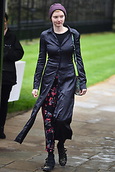 © Licensed to London News Pictures. 31/03/2018. Cambridge, UK. LILY COLE. The funeral of Stephen Hawking at Church of St Mary the Great in Cambridge, Cambridgeshire. Professor Hawking, who was famous for ground-breaking work on singularities and black hole mechanics, suffered from motor neurone disease from the age of 21. He died at his Cambridge home in the morning of 14 March 2018, at the age of 76. Photo credit: Ben Cawthra/LNP