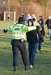 © under license to London News Pictures. 11/12/2010. Continuing their protests in towns and cities across the UK, the English Defence League protest against militant Islam in Peterborough. Police attempt to push back EDL supporters