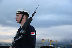 A crew member aboard HMS Duncan, as four Nato warships have docked in Belfast after monitoring a Russian aircraft carrier through the North Sea and on to the Mediterranean.
