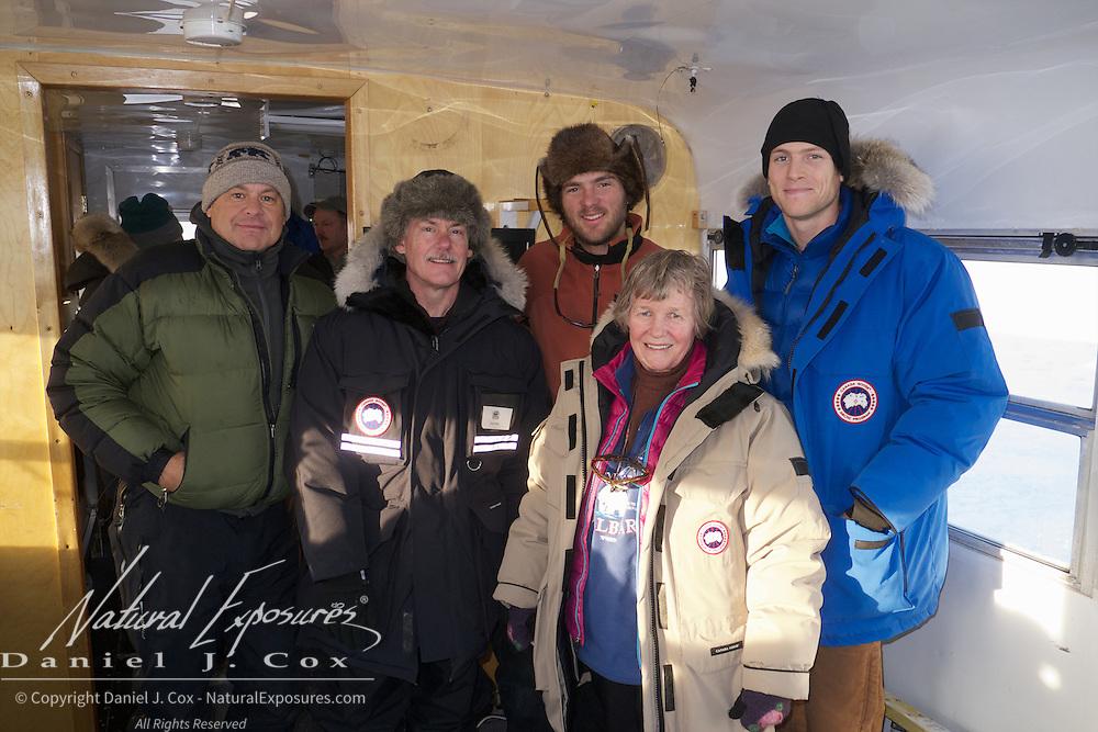 Daniel Cox, Daniel Smith BJ Kirschhoffer CJ Carter and Ellen Goff on Buggy One. Cape Churchill, Hudson Bay, Manitoba.
