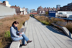 The new High Line elevated landscaped public walkway built on old railway viaduct in Chelsea district of Manhattan in New York City USA