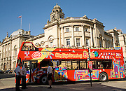 Double decker city sightseeing bus by the Guildhall, Bath