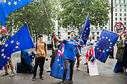 Anti Brexit campaigners with a plards and EU flags protest outside the Cabinet Office in Whitehall as Ministers hold a Brexit Cabinet meeting on 16th August 2019 in London, United Kingdom.