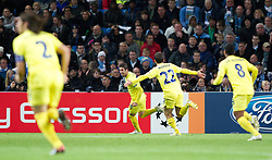 18.10.2011, City of Manchester Stadion, Manchester, ENG, UEFA CL, Gruppe A, Manchester City (ENG) vs FC Villarreal (ESP), im Bild Villarreal CF's Cani celebrates scoring the first goal against against Manchester City with team-mate Giuseppe Rossi // during UEFA Champions League group A match between Manchester City (ENG) and FC Villarreal (ESP) at City of Manchester Stadium, Manchaster, United Kingdom on 18/10/2011. EXPA Pictures © 2011, PhotoCredit: EXPA/ Propaganda Photo/ Vegard Grott +++++ ATTENTION - OUT OF ENGLAND/GBR+++++