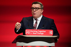 © Licensed to London News Pictures. 27/09/2016. Liverpool, UK. Party deputy TOM WATSON delivers a speech at the third day of the Labour Party Annual Conference, held at the ACC in Liverpool, merseyside, UK.  Photo credit: Ben Cawthra/LNP
