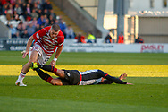 Alex Gogic of Hamilton Academical pulls down Simeon Jackson of St Mirren and is shown the red card by Match Referee William Collum during the Ladbrokes Scottish Premiership match between St Mirren and Hamilton Academical FC at the Paisley 2021 Stadium, St Mirren, Scotland on 13 May 2019.
