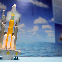072215       Cable Hoover<br /> <br /> A model of a Saturn V rocket is on display at the Exploring Space exhibit at the Octavia Fellin Public Library in Gallup Wednesday.