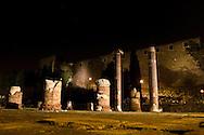 Il foro romano e la cattedrale sulla sommità del colle di San Giusto. The Roman forum and cathedral on the hill of San Giusto.