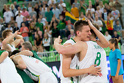 Celebration of Lithuanian players as Lithuania won and become European Champions U-20 after basketball match between National teams of Lithuania and France in Final match of U20 Men European Championship Slovenia 2012, on July 22, 2012 in SRC Stozice, Ljubljana, Slovenia. Lithuania defeated France 50:49. (Photo by Matic Klansek Velej / Sportida.com)