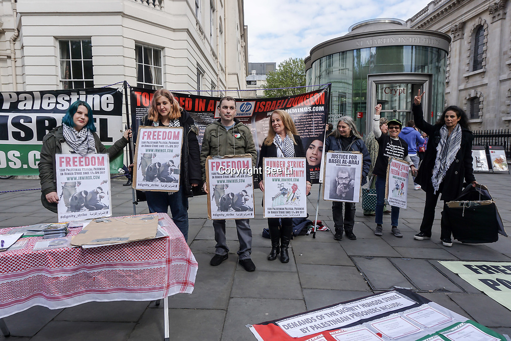 London,England,UK. 28th April 2017.  Inminds human right group will hold a vigil in central London in solidarity with the largest hunger strike of Palestinian political prisoners on days 6 in Charing Cross also to boyscott Hewlett-Packard complicity in Israel's Apartheid. by See Li