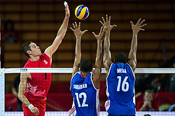 10.09.2014, Centennial Hall, Breslau, POL, FIVB WM, Kuba vs Kanada, 2. Runde, Gruppe F, im Bild Dallas Soonias canada #7 Abrahan Alfonso Gavilan cuba #12 Isbel Mesa Sandoval cuba #16 // Tyler Sanders canada #1 Abrahan Alfonso Gavilan cuba #12 Isbel Mesa Sandoval cuba #16 during the FIVB Volleyball Men's World Championships 2nd Round Pool F Match beween Cuba and Canada at the Centennial Hall in Breslau, Poland on 2014/09/10. EXPA Pictures © 2014, PhotoCredit: EXPA/ Newspix/ Sebastian Borowski<br /> <br /> *****ATTENTION - for AUT, SLO, CRO, SRB, BIH, MAZ, TUR, SUI, SWE only*****