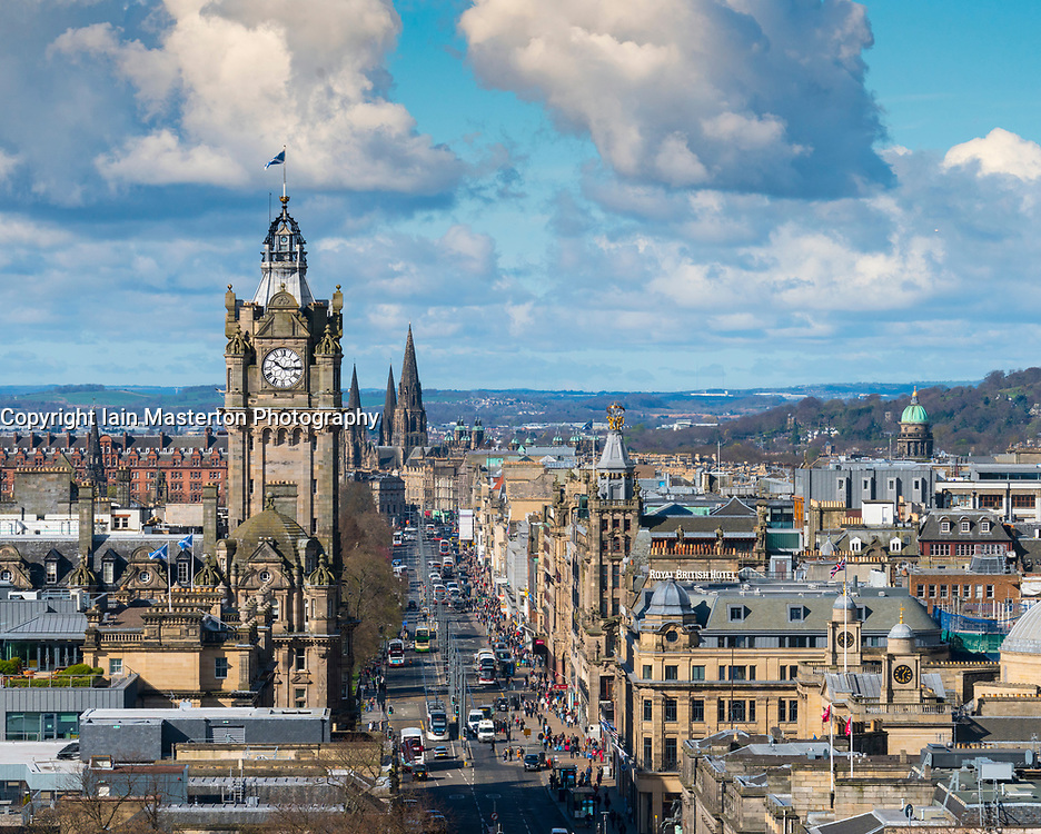 View along Princes Street from Calton Hill and skyline of Edinburgh, Scotland