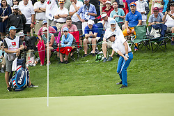 May 5, 2019 - Charlotte, North Carolina, United States of America - Joel Dahmen chips from the rough on the eighteenth hole during the final round of the 2019 Wells Fargo Championship at Quail Hollow Club on May 05, 2019 in Charlotte, North Carolina. (Credit Image: © Spencer Lee/ZUMA Wire)