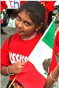 Cinco de Mayo parade participant age 11 with Mex. Flag.  St Paul Minnesota USA