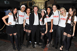 GUY PELLY and staff at a party at the nightclub Public, King's Road, London to celebrate the launch of Public Verbier held on 17th November 2011.