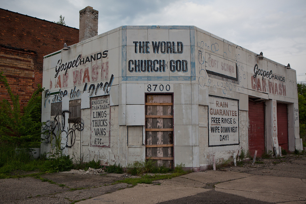 Church- abandoned building with handpainted sign in Detroit.