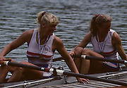 Lucerne, SWITZERLAND. GRB W2X Alison GILL and Bow. Annabell EYRES, 1992 FISA World Cup Regatta, Lucerne. Lake Rotsee.  [Mandatory Credit: Peter Spurrier: Intersport Images] 1992 Lucerne International Regatta and World Cup, Switzerland