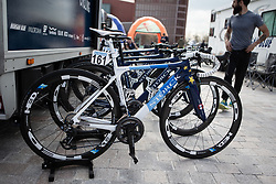 The bike of Marta Bastianelli (ITA) of Team Virtu Cycling is ready for the AG Driedaagse Brugge-De Panne - a 134.4 km road race, between Brugge and De Panne on April 21, 2018, in West Flanders, Belgium. (Photo by Balint Hamvas/Velofocus.com)