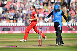 Lancashire Lightning's James Faulkner celebrates taking the wicket of Worcestershire Rapid's Alex Clarke during the Vitality T20 Blast Semi Final match on Finals Day at Edgbaston, Birmingham.