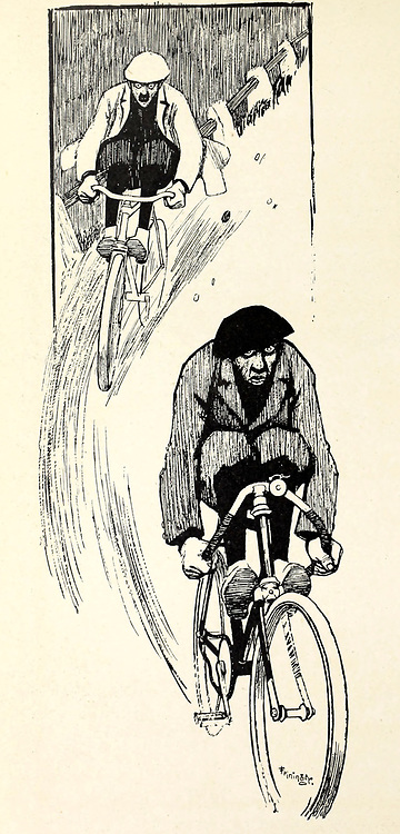 Downhill cycling From the Book Das Narrenrad : Album fröhlicher Radfahrbilder [The fool's wheel: album of happy cycling pictures] by Feininger, Lyonel, 1871-1956, illustrator; Heilemann, Ernst, 1870- illustrator; Hansen, Knut, illustrator; Fürst, Edmund, 1874-1955, illustrator; Edel, Edmund, illustrator; Schnebel, Carl, illustrator; Verlag Otto Elsner, printer. Published in Germany in 1898