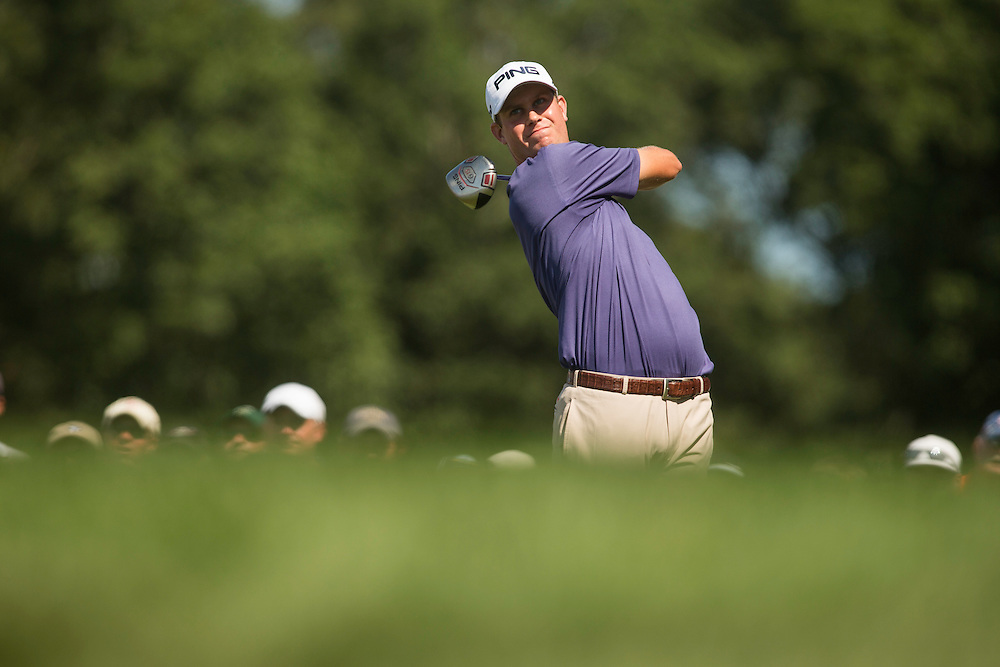 FARMINGDALE, NY - AUGUST 26:  Harris English plays a tee shot during the final round of the 2012 Barclays at the Black Course at Bethpage State Park in Farmingale, New York on August 26, 2012. (Photograph ©2012 Darren Carroll) *** Local Caption *** Harris English