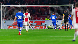 13-03-2019 NED: Ajax - PEC Zwolle, Amsterdam<br /> Ajax has booked an oppressive victory over PEC Zwolle without entertaining the public 2-1 / Vito van Crooij #7 of PEC Zwolle scores the 1-1. Andre Onana #24 of Ajax