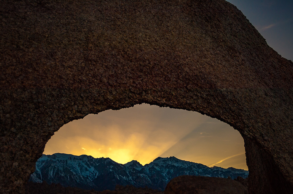 Eastern Sierra Mountains April, evening light, granite boulders, view from the Alabama Hills Recreation Area, U.S. Bureau of Land Management, Whitney Portal, Inyo County, California, USA