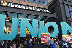 May 23, 2019 - Chicago, Illinois, U.S. - Fast food works with SEIU union members marched to McDonalds headquaters in the west loop. To demand a  $15 minimum wage and the right to form a union. (Credit Image: © Rick Majewski/ZUMA Wire)
