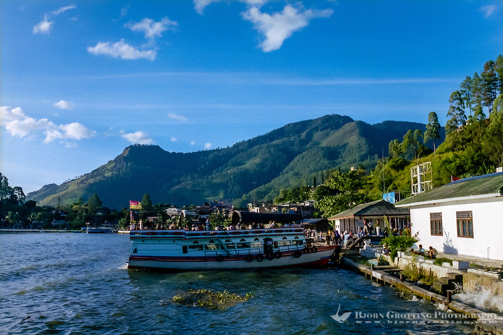 Indonesia, Sumatra. Parapat. The ferry to Tuk Tuk and Samosir Island depart roughly every hour.