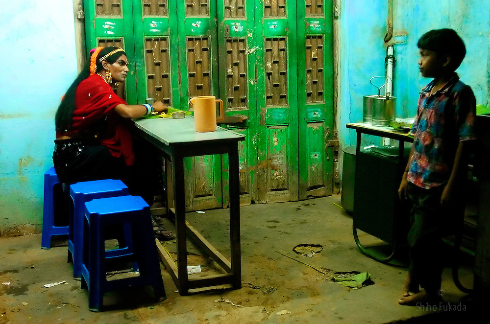 """Transgender eats at restaurant in Tamil Nadu, India. <br /> As transgenders,""""hijras"""" in local terms, are acutely marginalized in Indian society, the major earning avenues for them are sex work, begging and performing at rituals."""