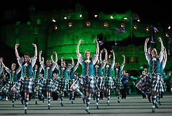 Highland dancers perform on the Esplanade during the Royal Edinburgh Military Tattoo at Edinburgh Castle.