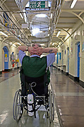 An older disabled prisoner with breathing problems in the Vulnerable Prisoners Unit. HMP Wandsworth, London, United Kingdom.