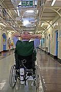 An older disabled prisoner with breathing problems in the Vulnerable Prisoners Unit. HMP Wandsworth, London, United Kingdom.