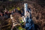 Drone shot of Schloss Lichtensein